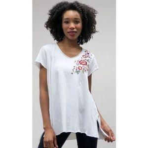 Caite White Ava Floral Embroidered V-Neck Tee